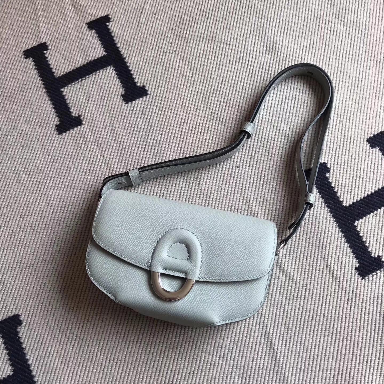 Hermes 8UBlue Glacier Epsom Leather Cherche Midi Women's Shoulder Bag