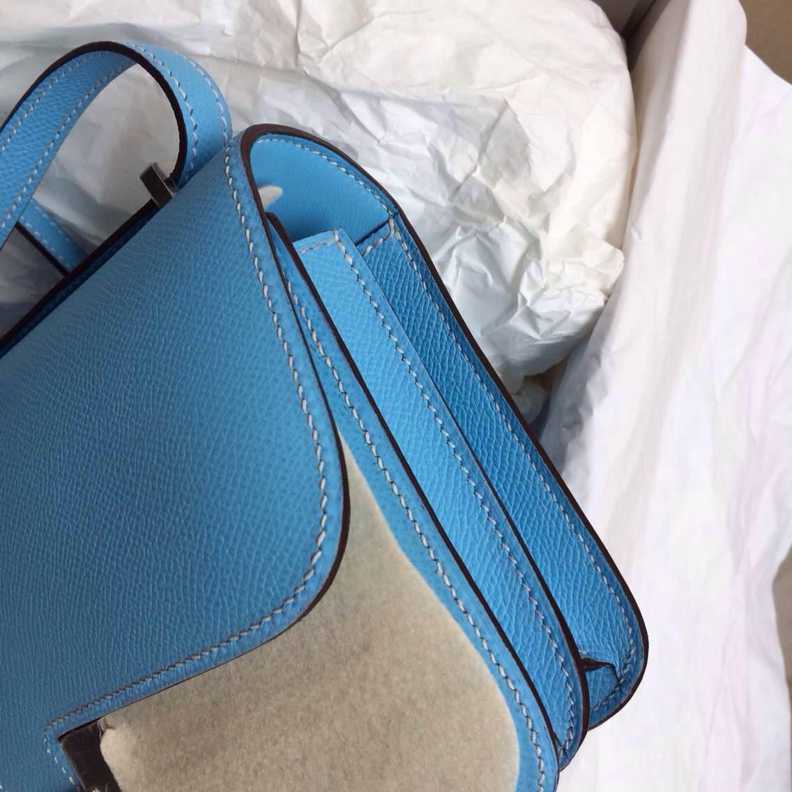 Hermes Constance elan 26cm 7N Blue Paradise Epsom Leather Messenger Bag
