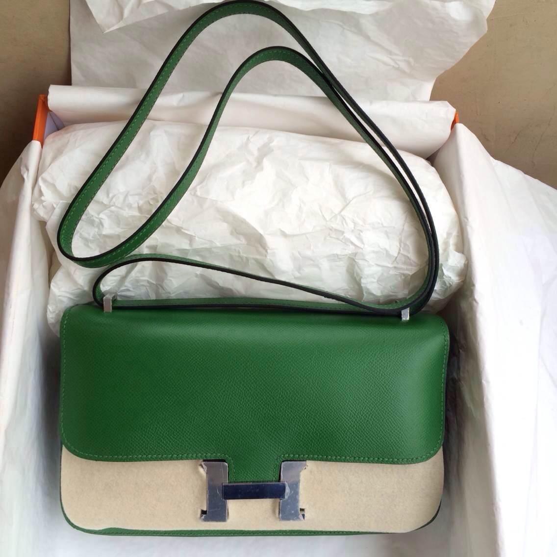 6Q Jade Green France Epsom Leather Hermes Constance elan 26cm Gold/Silver Hardware