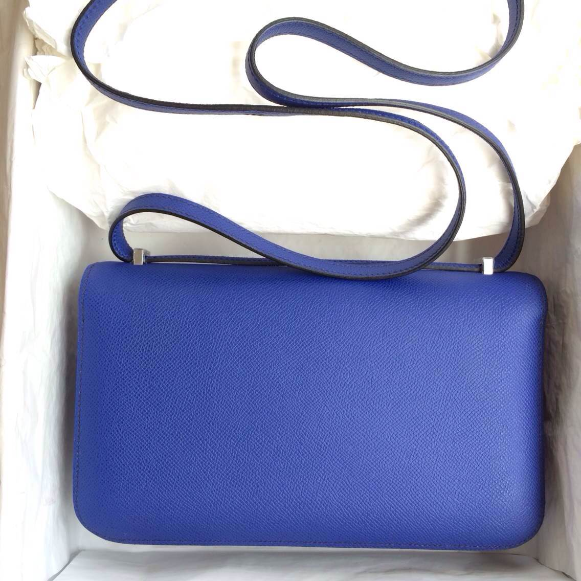 Fashion Hermes Constance Bag 7T Blue Electric Epsom Leather Gold/Silver Hardware
