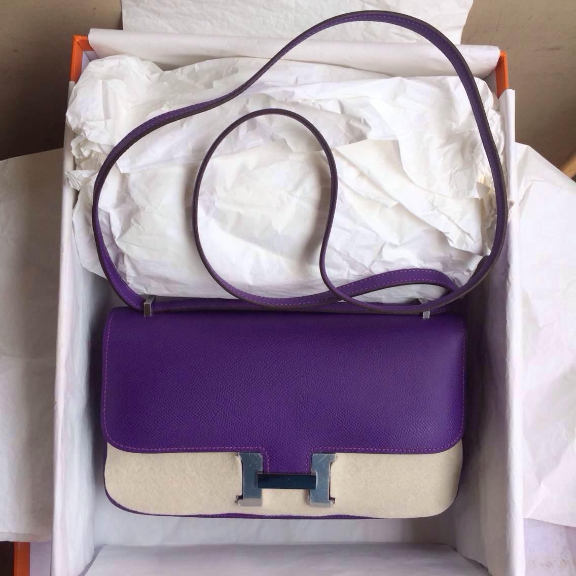 Hand Stitching Hermes Constance elan Bag 26cm 9W Ultraviolet Epsom Leather