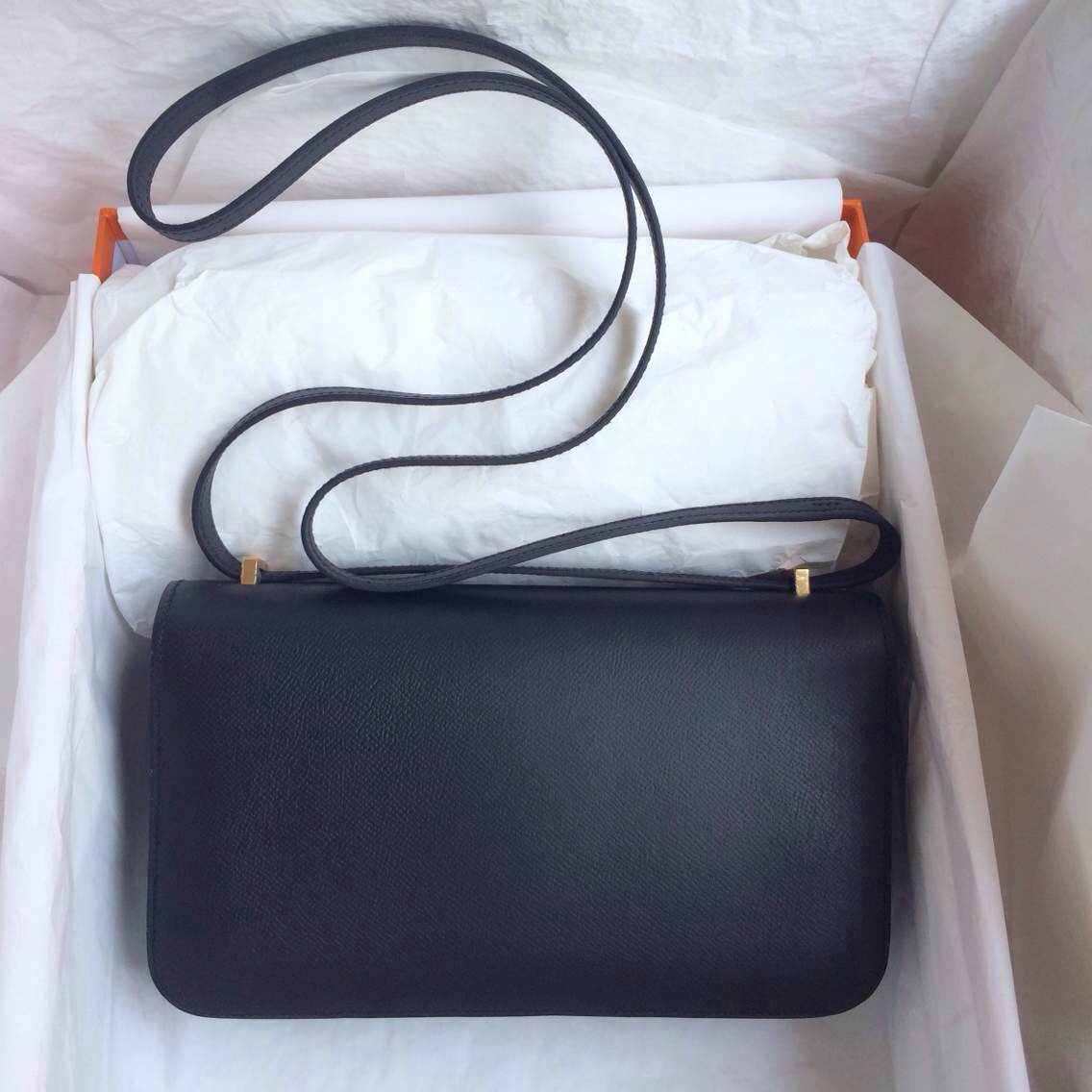 Popular 89Black France Epsom Leather Hermes Constance Bag Gold Hardware 26cm