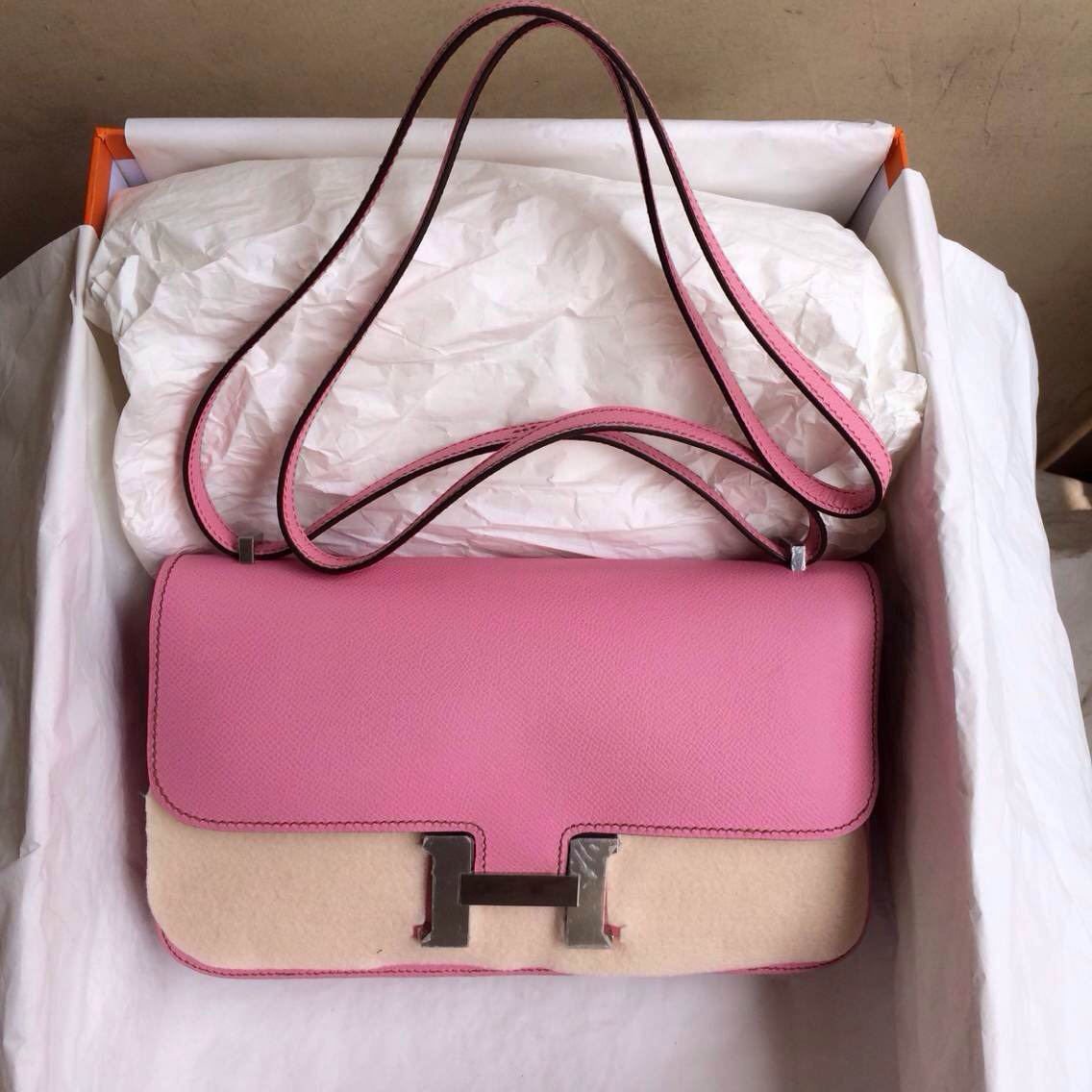 Hand Stitching 5P Pink Epsom Leather Hermes Constance elan 26cm Shoulder Bag