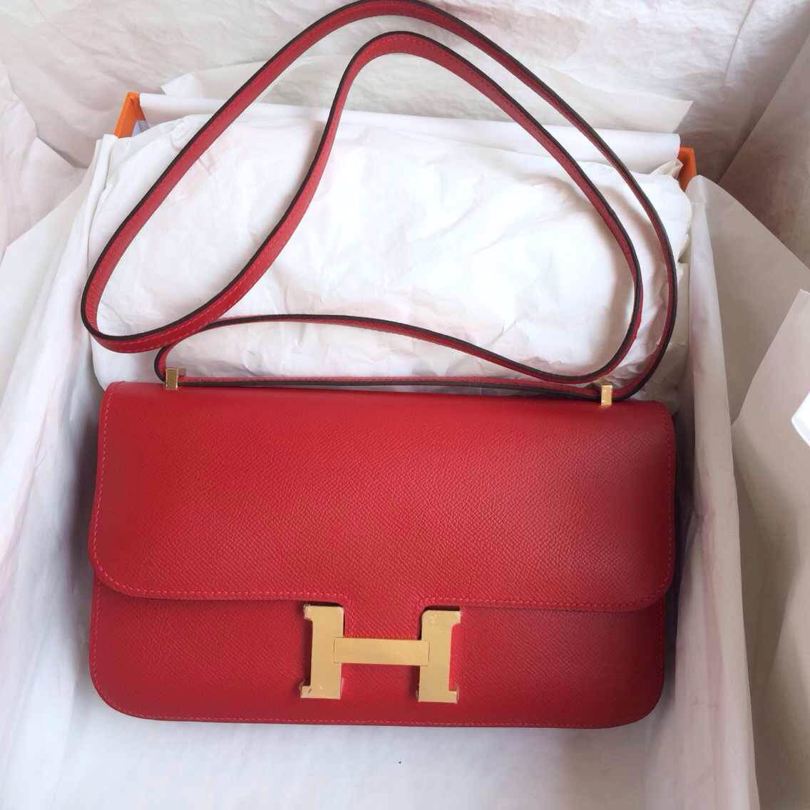 Hermes Constance Bag 26cm Q5 Candy Red Epsom Leather Silver/Gold Hardware