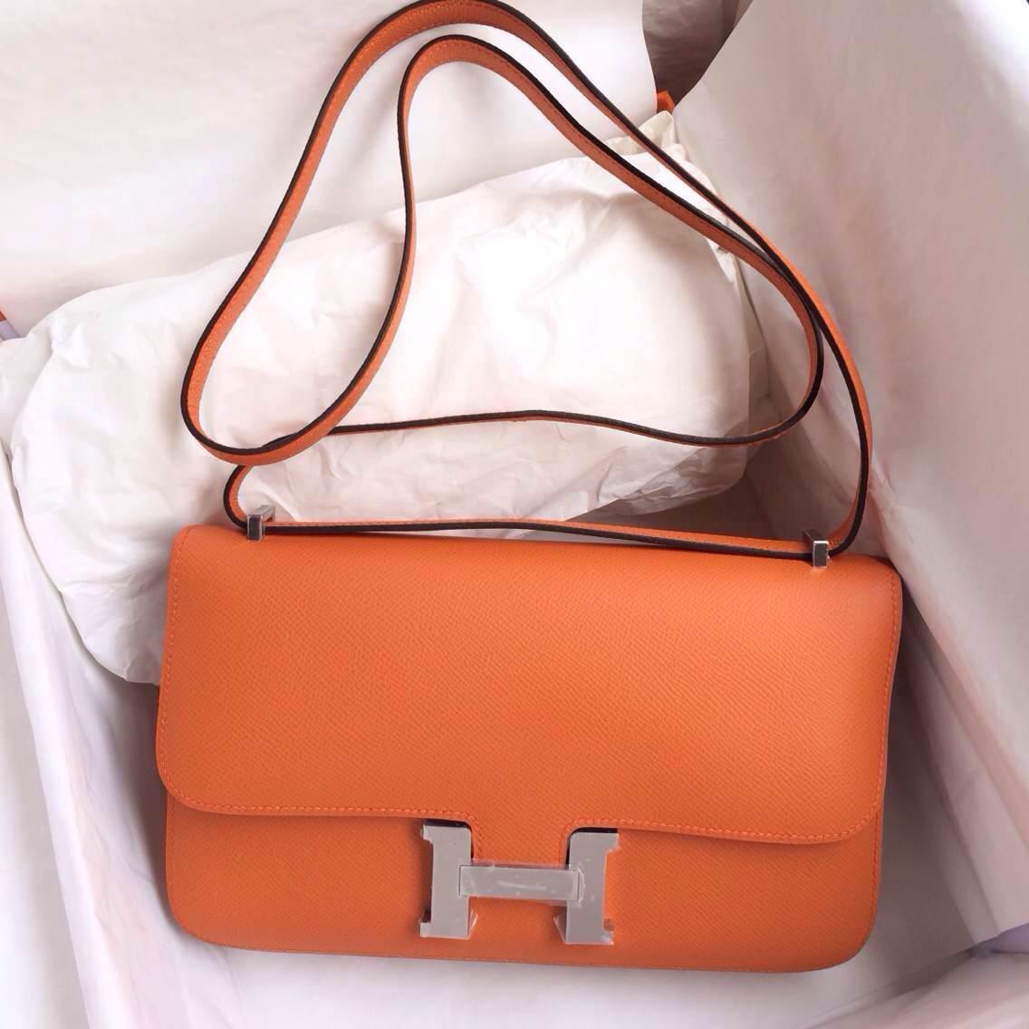 Beautiful CC93 Orange Epsom Leather Hand Stitching Hermes Constance Bag 26cm