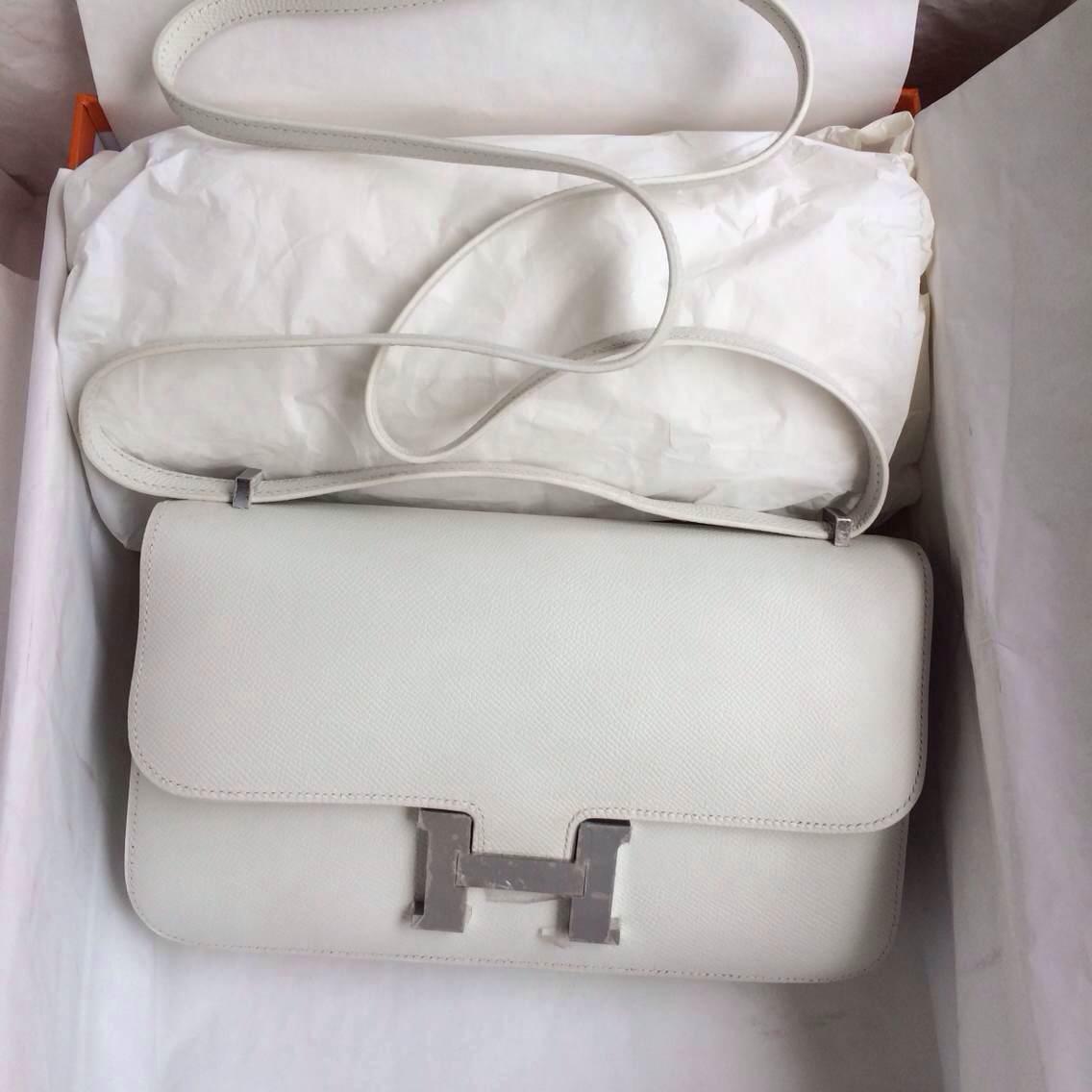 26cm White Color France Epsom Leather Hermes Constance Bag Gold/Silver Hardware