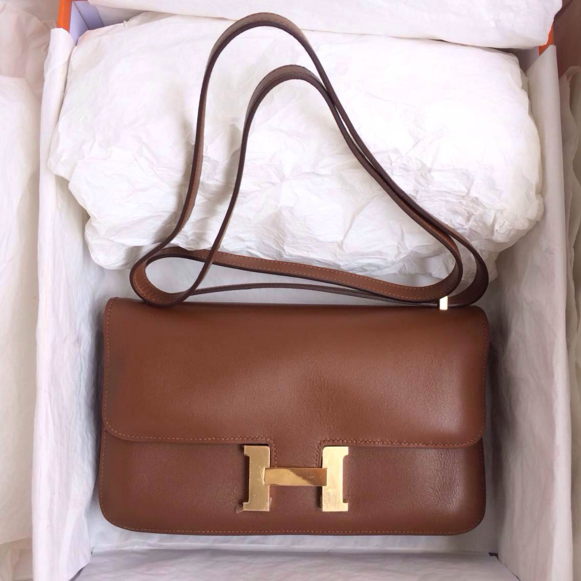 Hand Stitching Hermes Constance elan Coffee France Swift Leather Messenger Bag