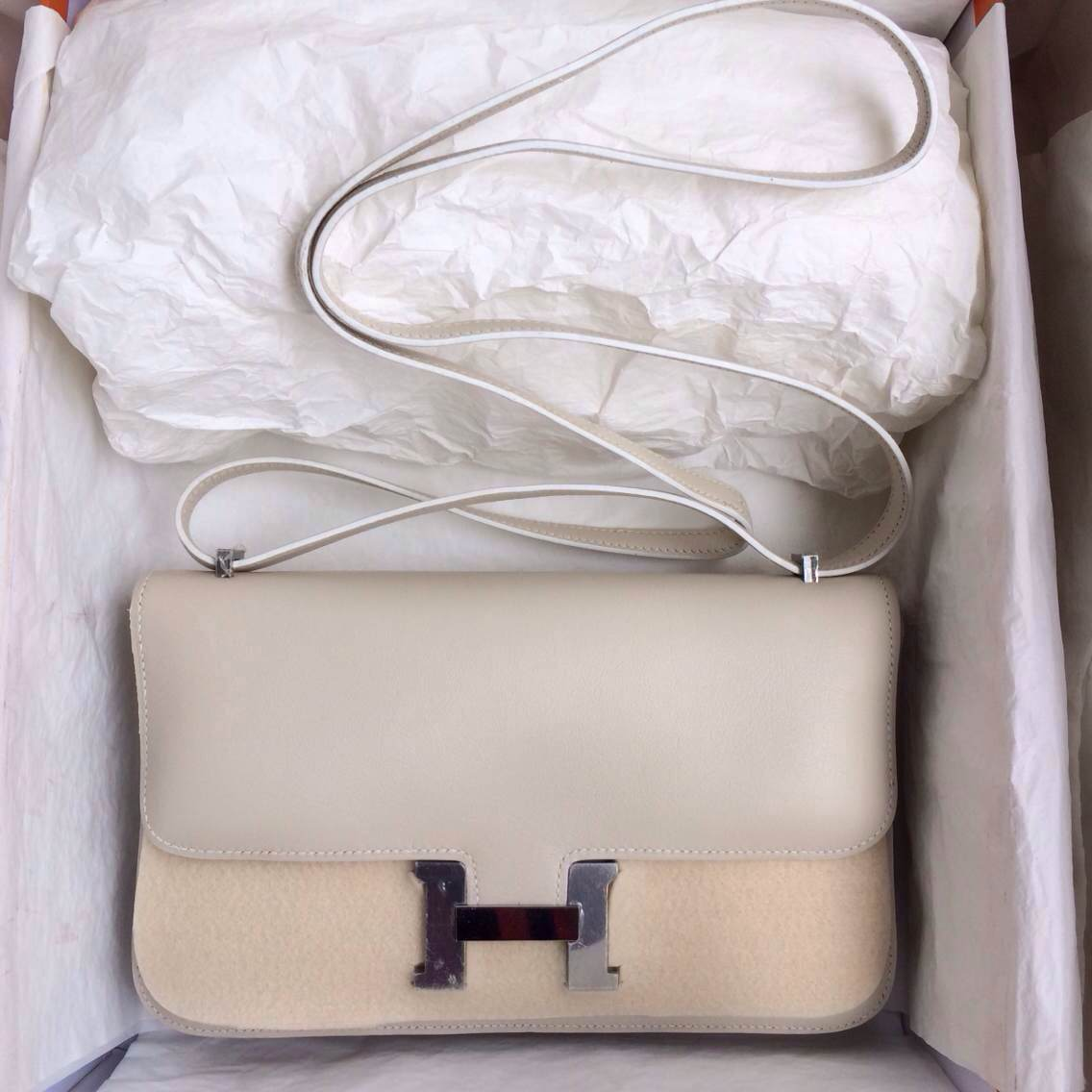 Hand Stitching Hermers Constance elan Bag26cm Beige Color Swift Leather