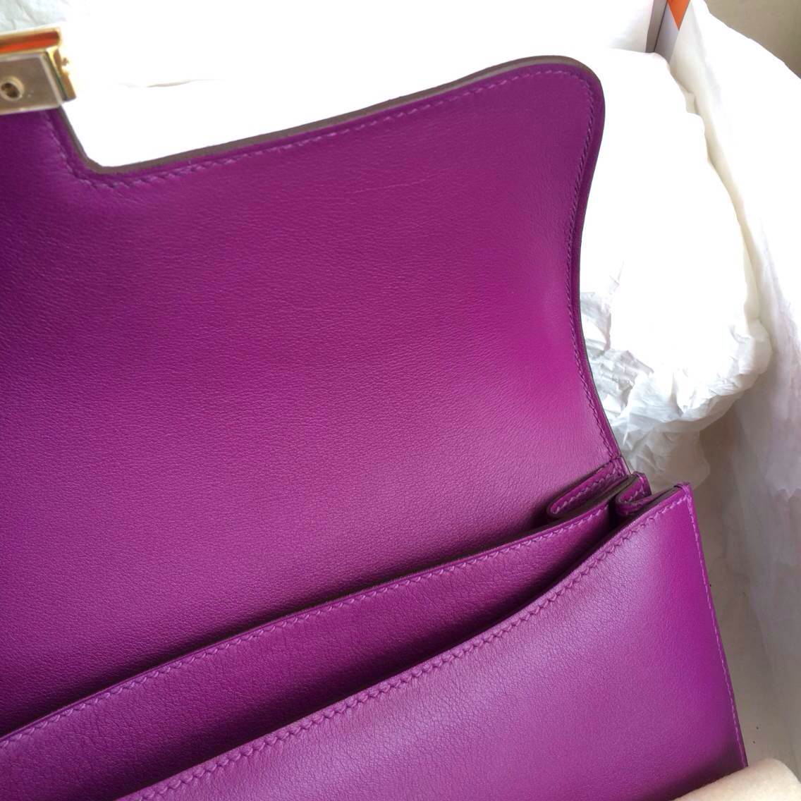 P9 Anemone Purple Constance Bag 26cm France Swift Leather Gold Hardware
