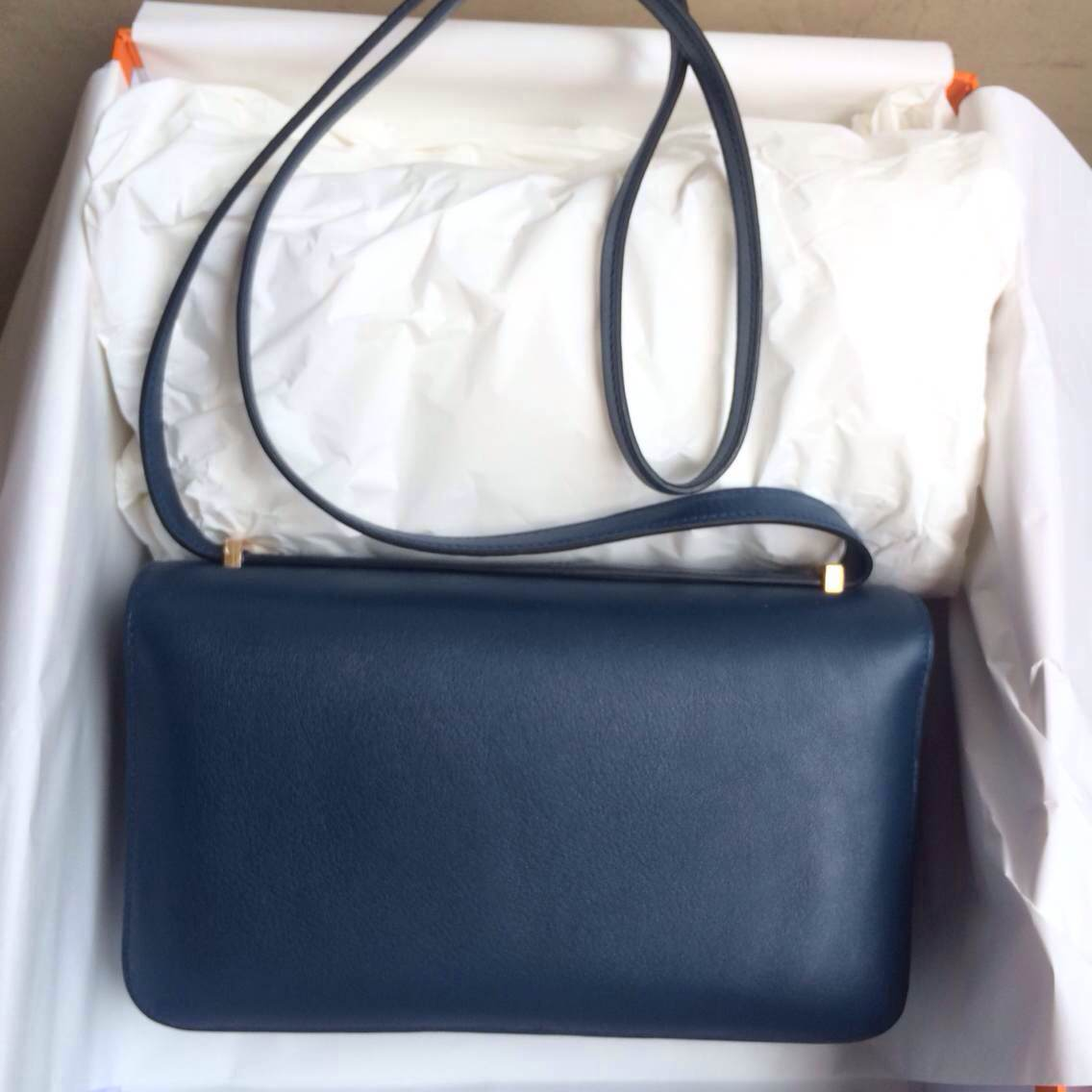 Hermes Constance elan Bag26cm 7K Blue Saphir Swift Leather Womens' Shouldr Bag