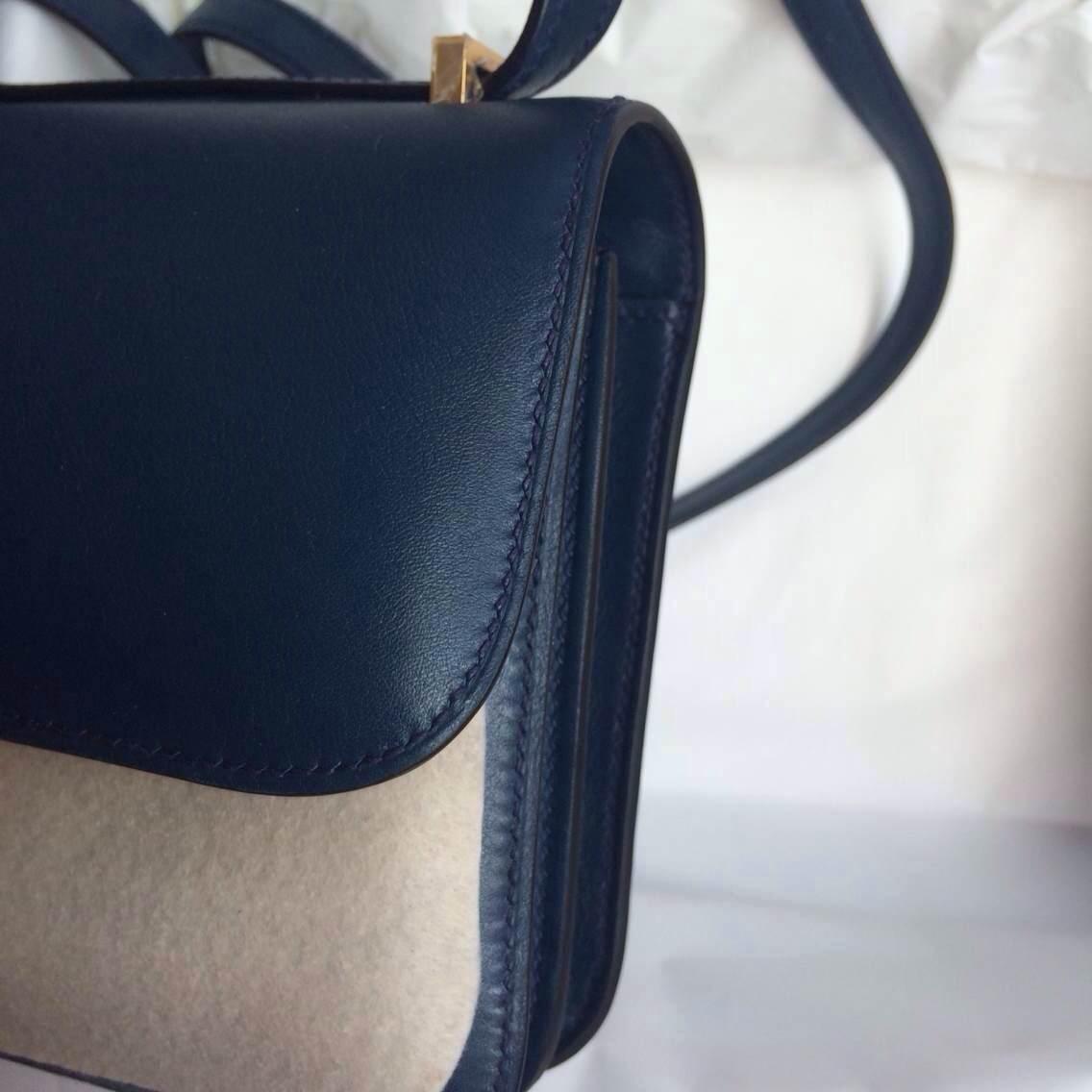 Hermes Constance elan Bag26cm 7K Blue Saphir Swift Leather Womens' Shouldr Bag