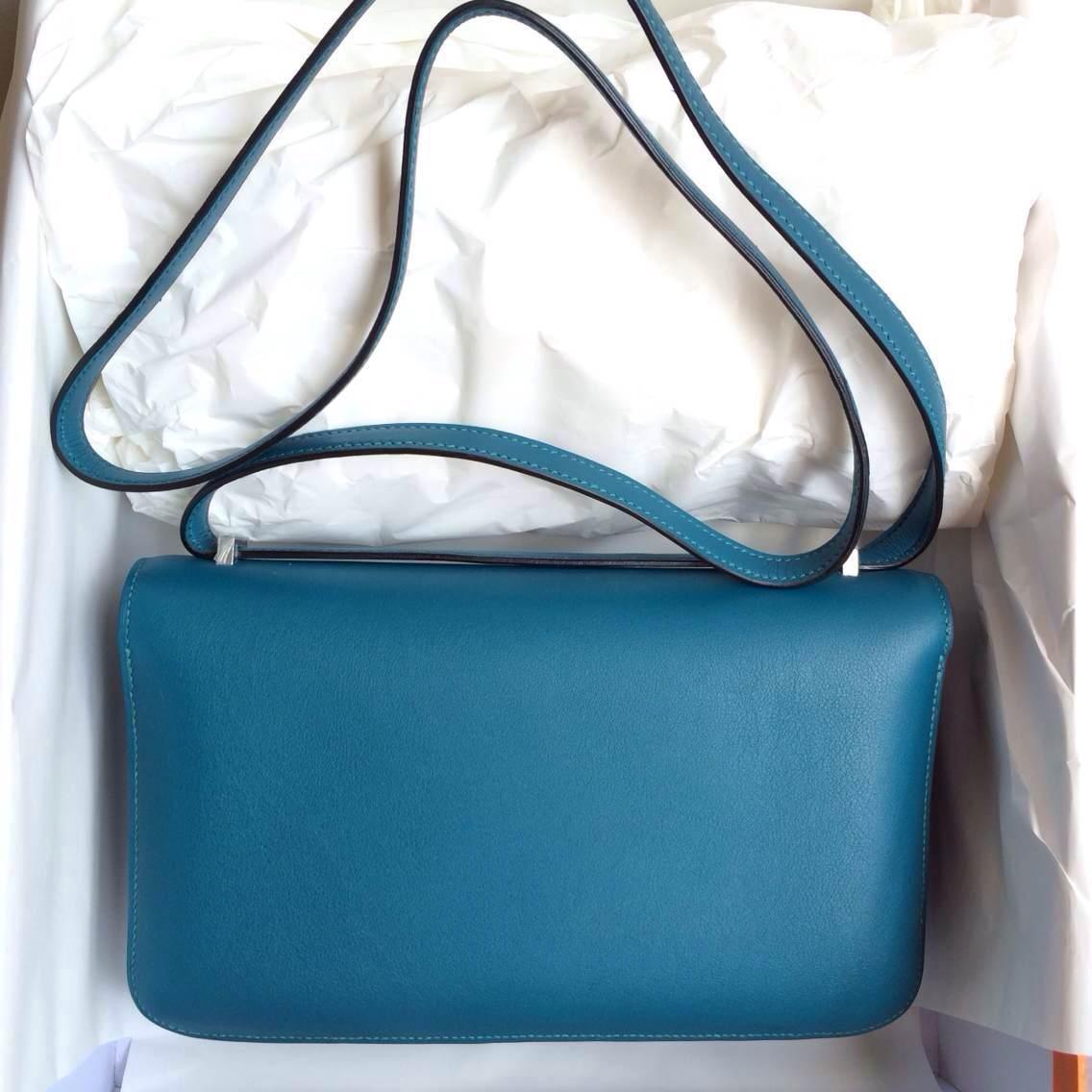 7W Prussian Blue France Swift Leather Hermes Constance elan Bag 26cm
