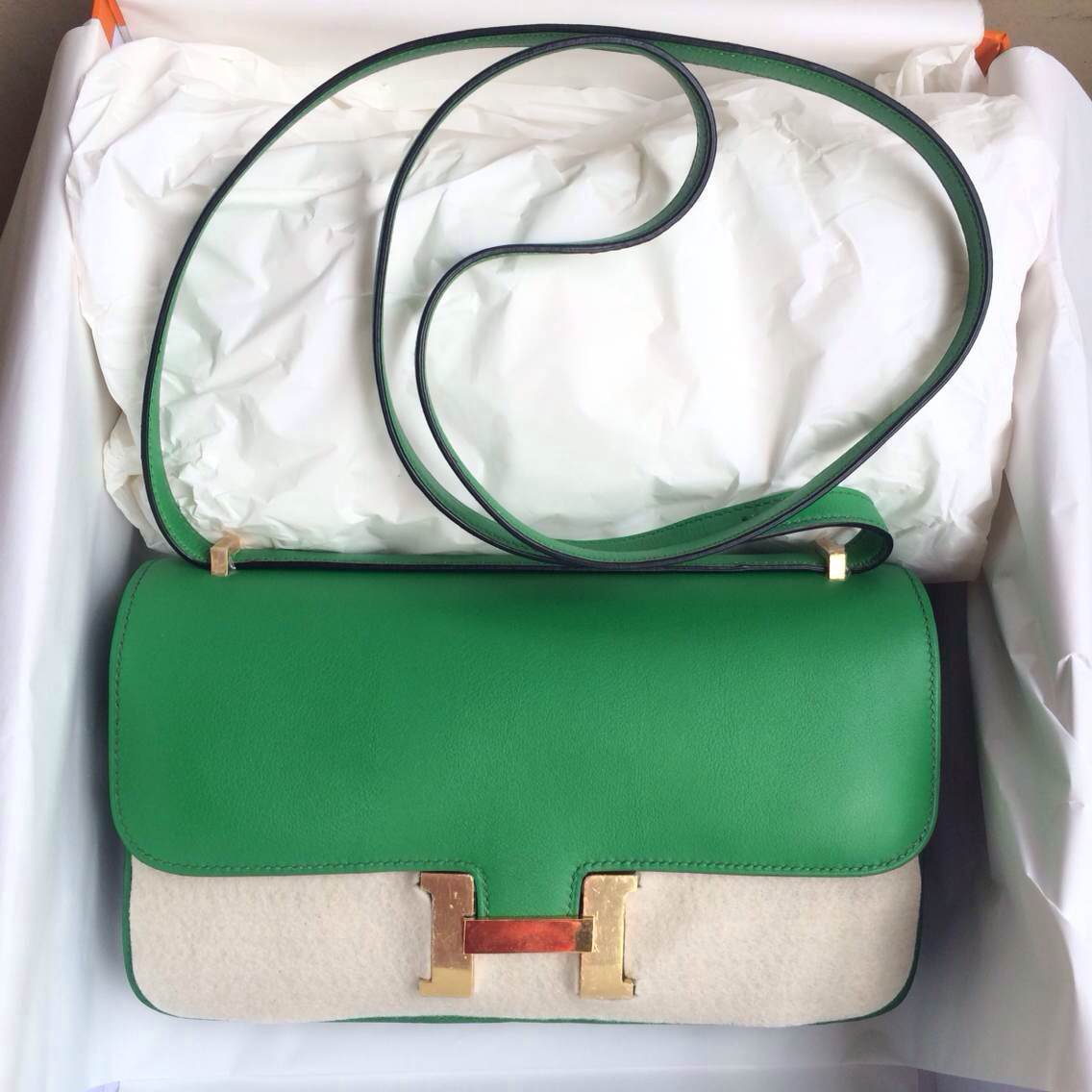Wholesale Hermes Constance Bag 1K Bamboo Green Swift Leather Silver/Gold Hardware