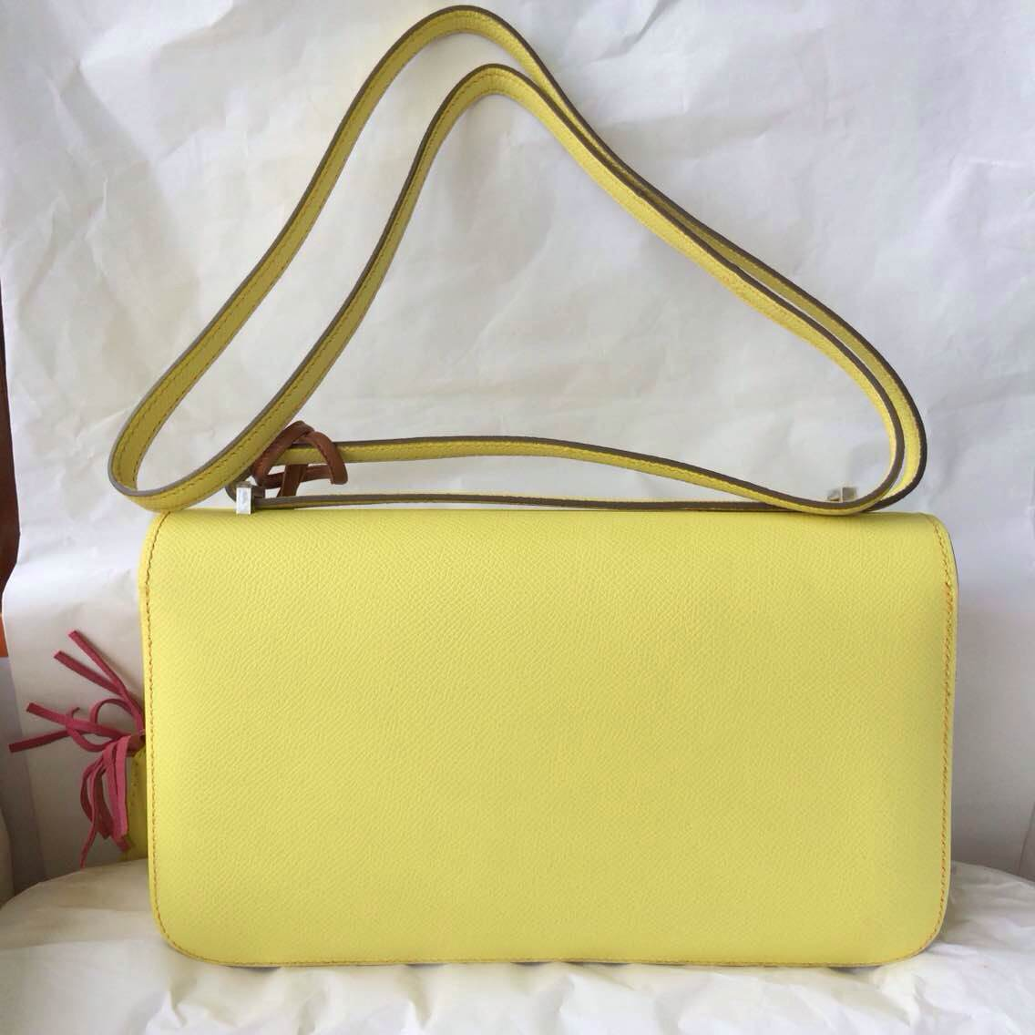 Discount Hermes Constance elan 26cm C9 Soufre Yellow Epsom Leather Shoulder Bag