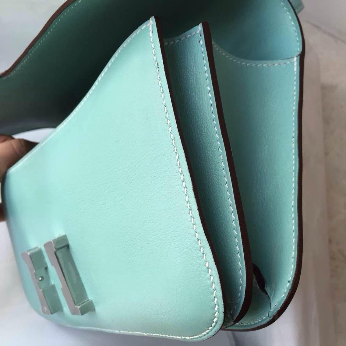 2014 New Women's Bag Hermes Constance elan 3P Lagon Blue Swift Leather Shoulder Bag