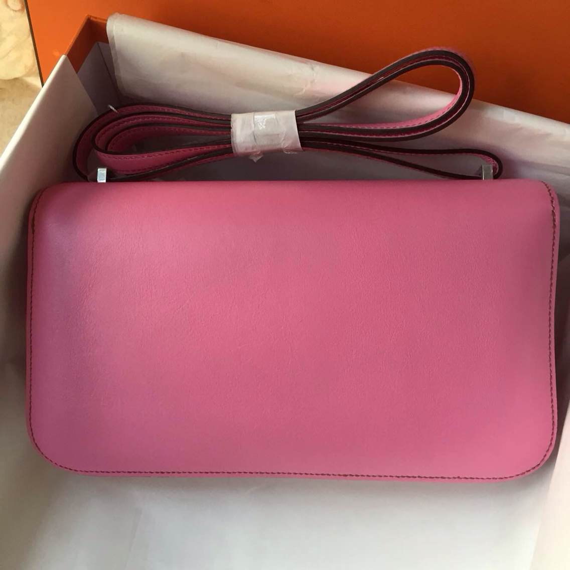 26cm Hermes Constance elan 5P Pink Swift Leather Cross-body Bag Silver Hardware
