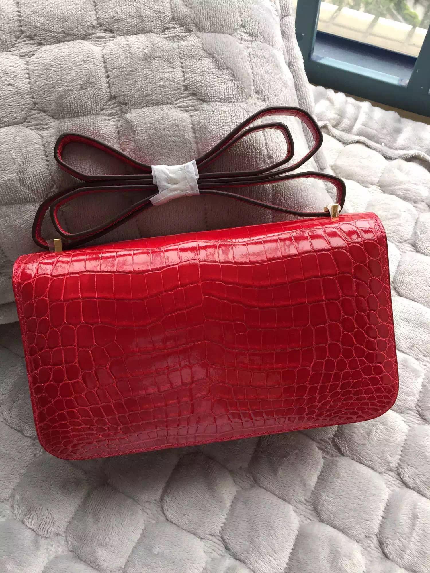 Discount Hermes Constance Bag Ferrari Red Shiny Crocodile Skin Cross-body Bag 26cm