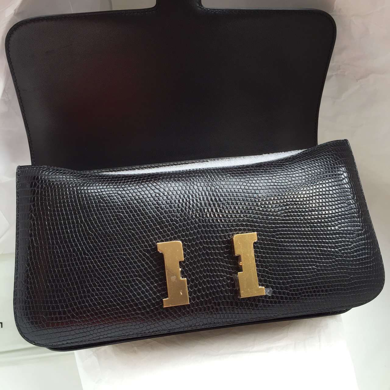 Discount Black Lizard Skin Hermes Constance Elan 26CM Fashion Ladies' Shoulder Bag