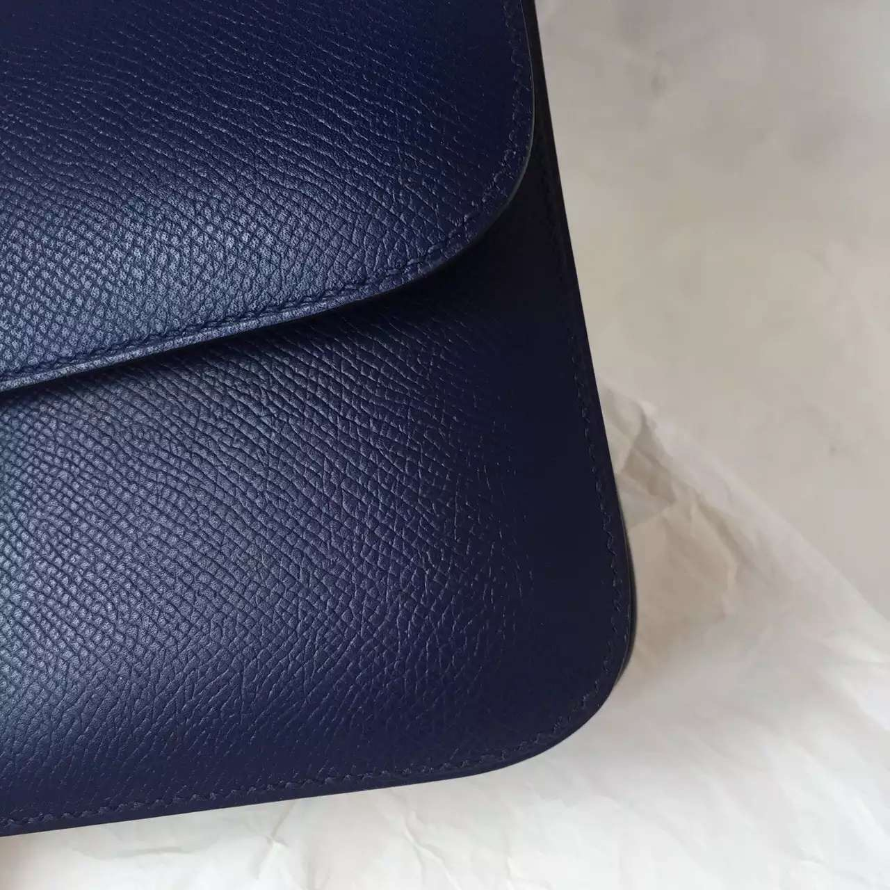 Fashion Hermes Epsom Leather Constance Bag 26CM in 7K Blue Saphir Women's Cross-body Bag