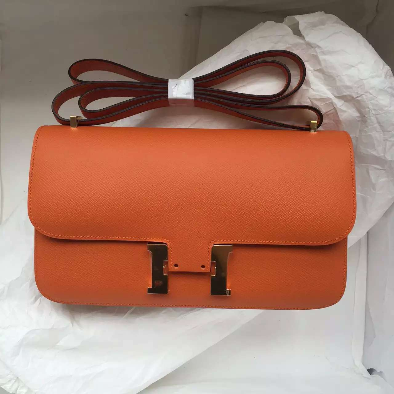 Hermes Epsom Leather Constance Bag in 93 Orange Color Fashion Women's Cross-body Bag