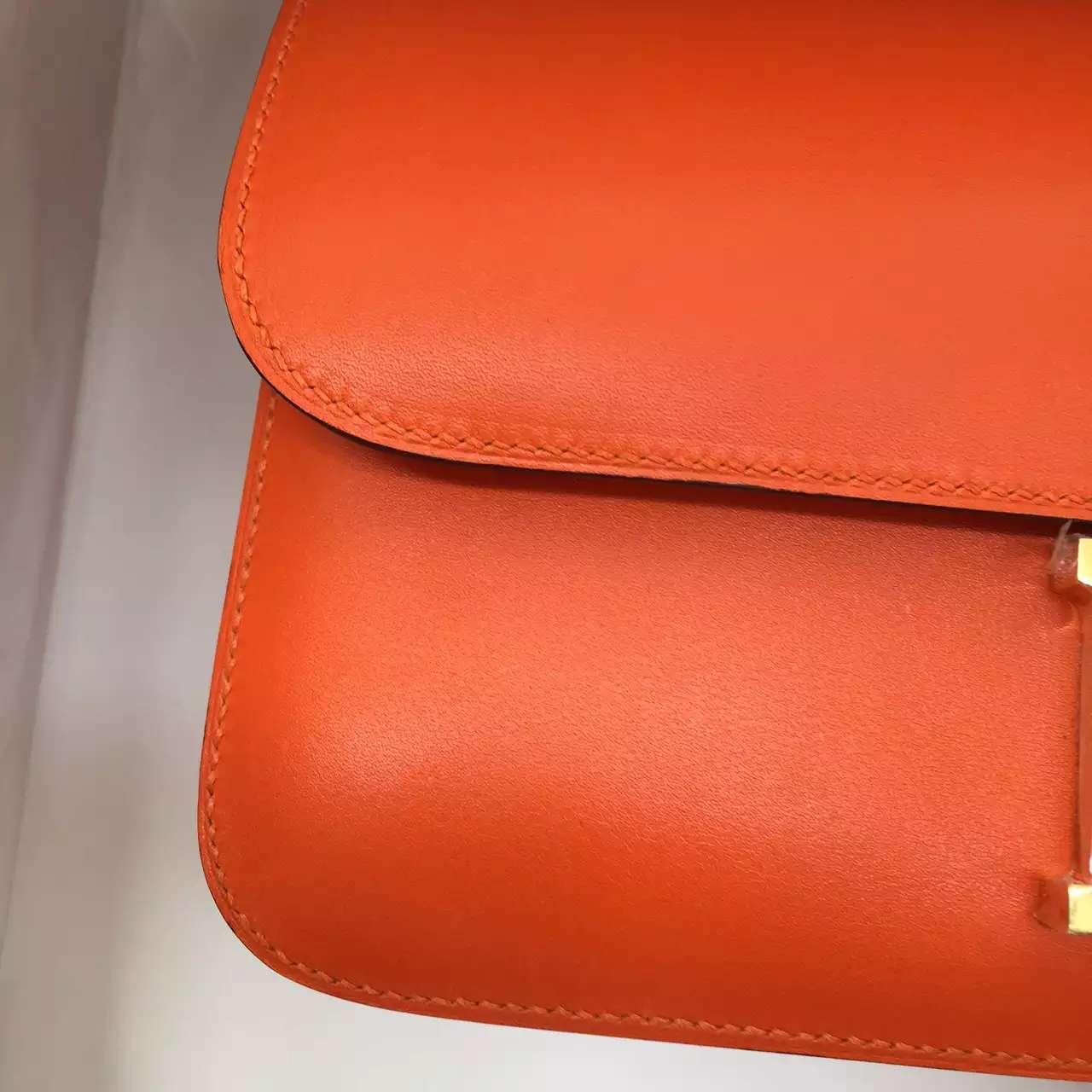 New Fashion Hermes Orange Swift Leather Constance Bag Ladies' Cross-body Bag 26CM