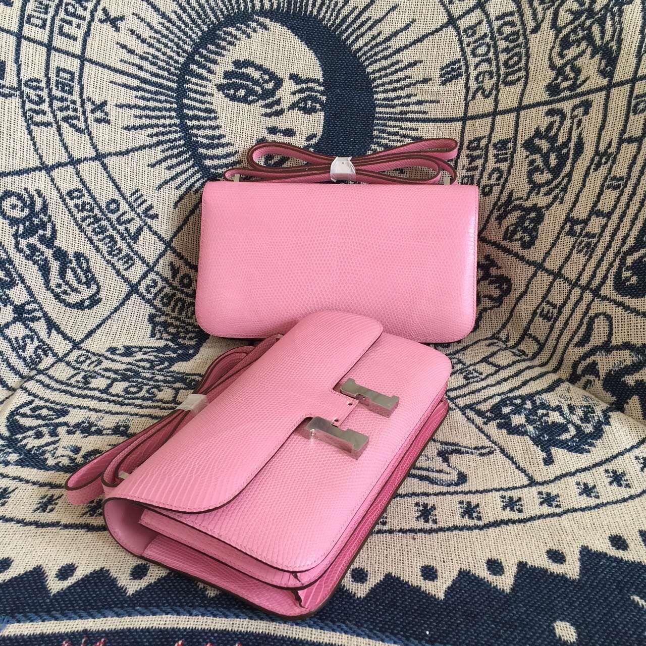 Cheap Hermes 5P Pink Lizard Skin Constance Bag Women's Cross-body Bag 26CM