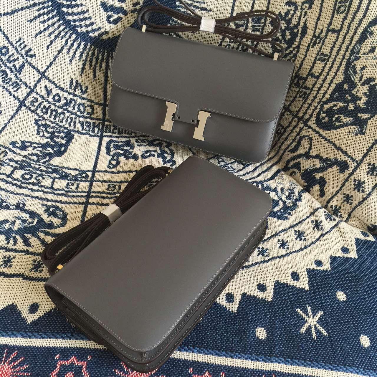 Wholesale Hermes Constance elan26cm 8F Etain Grey Box Calfskin Leather Shoulder Bag