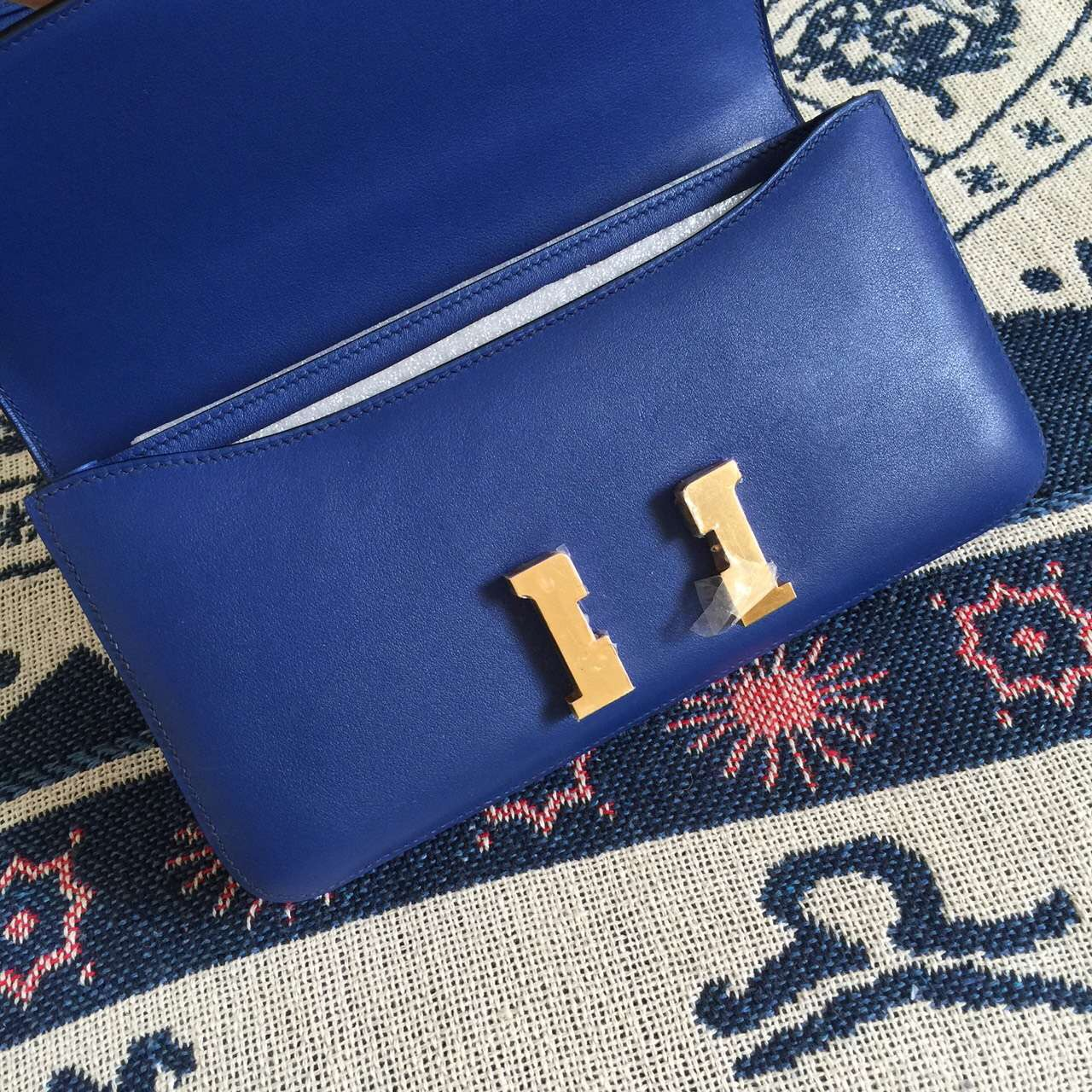 Hermes 7T Blue Electric Swift Leather Constance Bag Women's Cross-body Bag