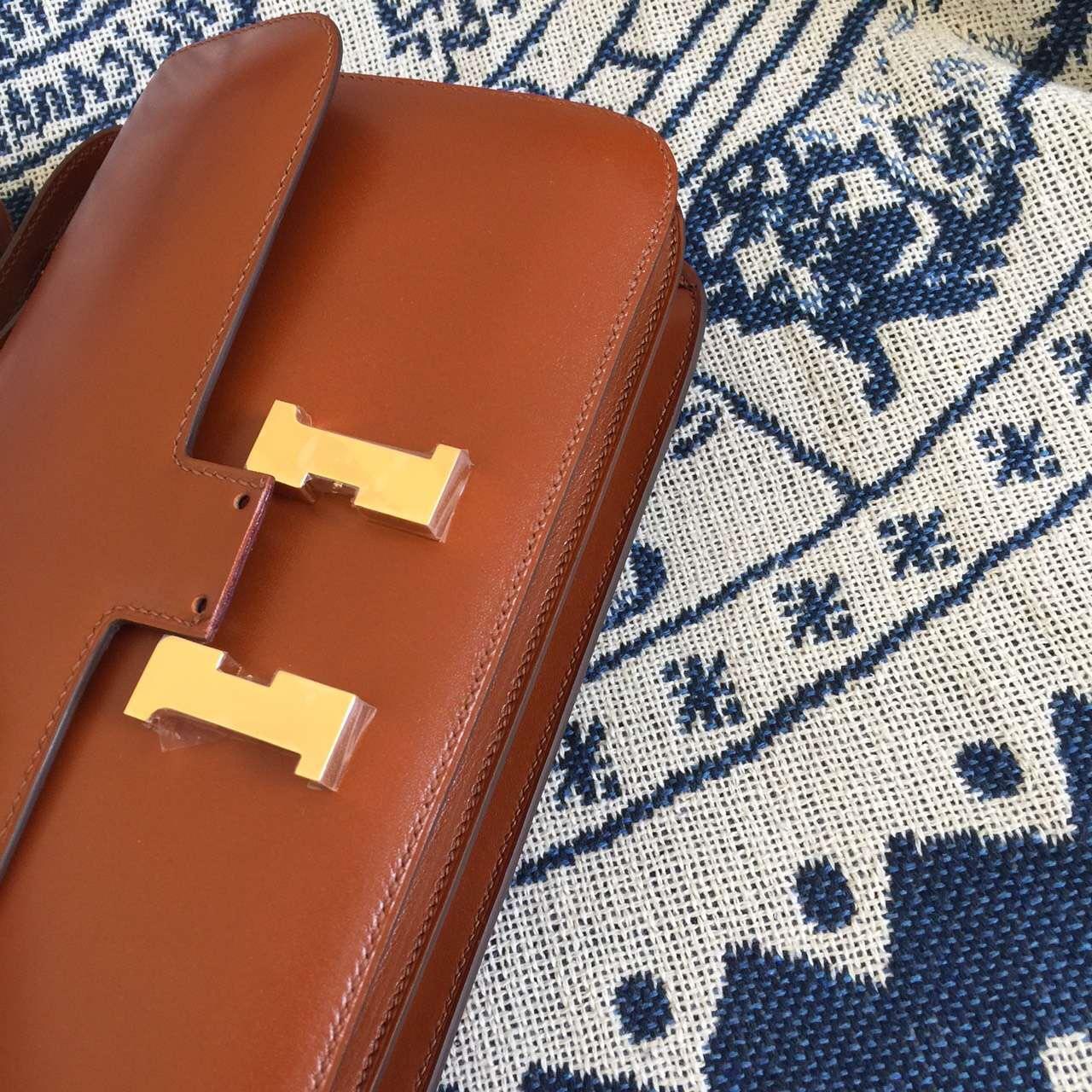 Discount Hermes Constance elan26CM Coffee Box Leather Cross-body Bag