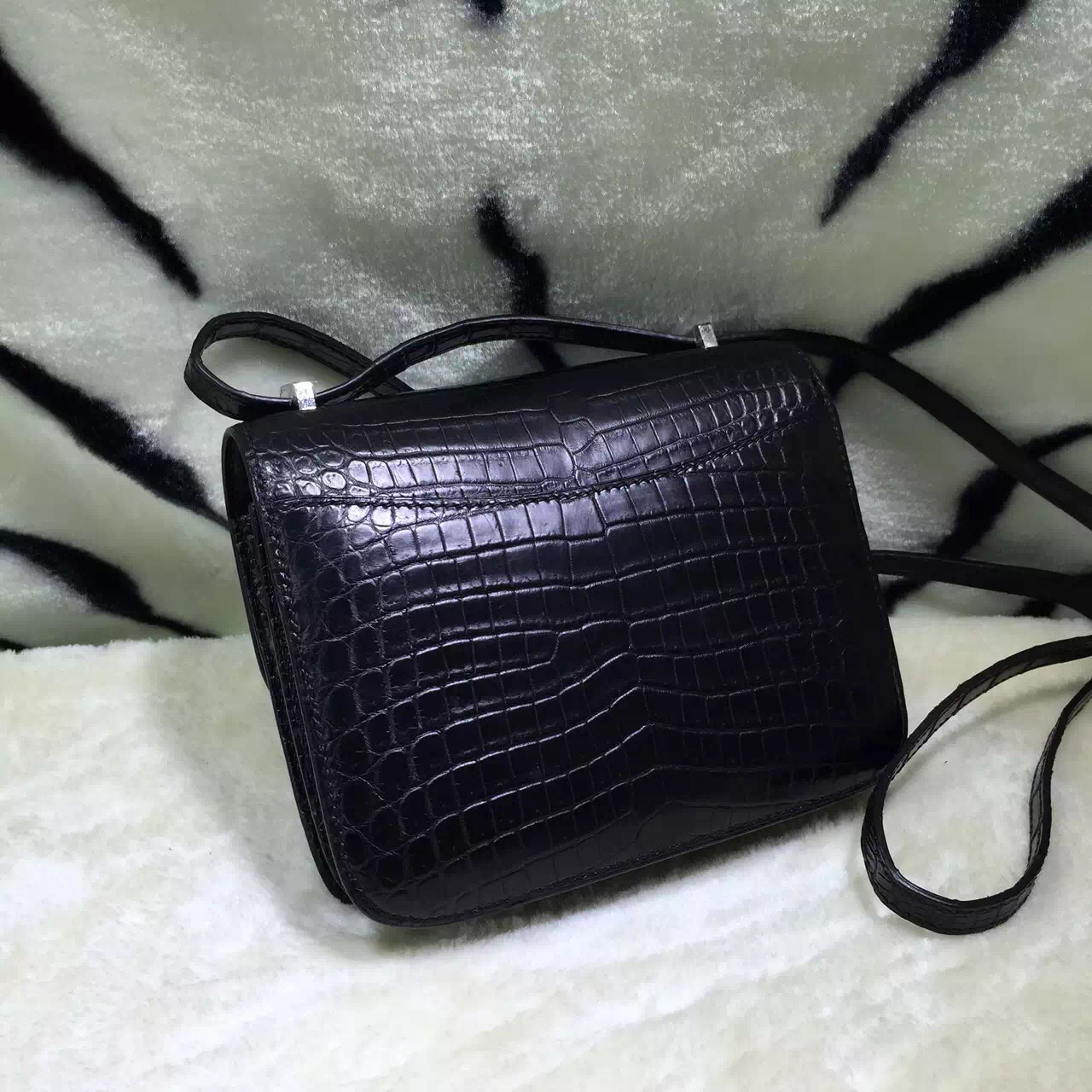 Fashion Women's Cross-body Bag Hermes Constance Bag 19CM CK89 Black Crocodile Skin