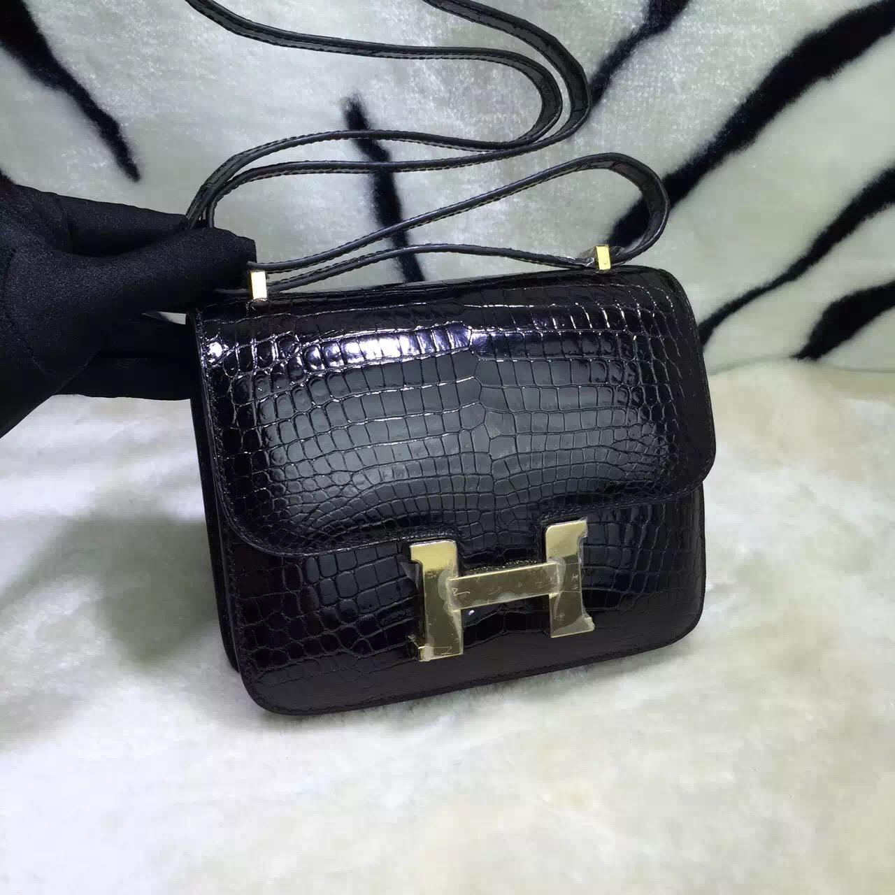 Discount Hermes Crocodile Leather Constance Bag 19CM CK89 Black Gold Hardware
