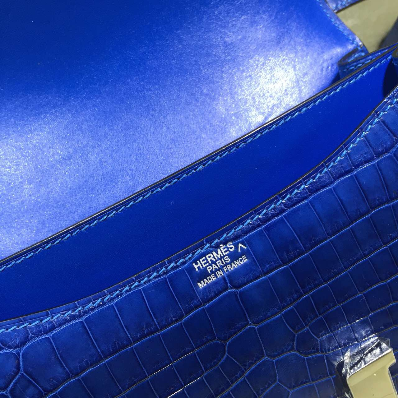 Luxury Women's Bag Hermes 7Q Mykono Blue Crocodile Skin Constance Bag 24CM