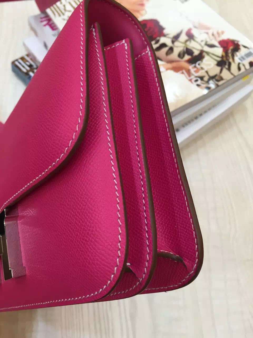 High Quality Hermes Constance Bag 24CM Candy Pink Epsom Leather Women's Shoulder Bag