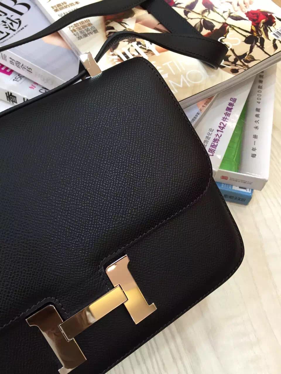 Hand Stitching Hermes Original Epsom Leather Constance Bag24CM in Black