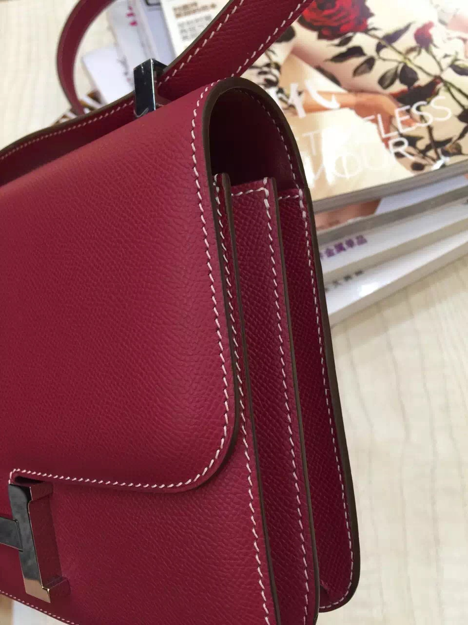 Hermes Burgundy Epsom Leather Constance Bag 24CM Hot Ladies' Shoulder Bag