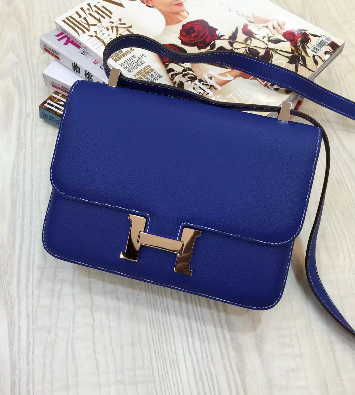 Hand Stitching Hermes Blue Electric Epsom Leather Constance Bag 24CM