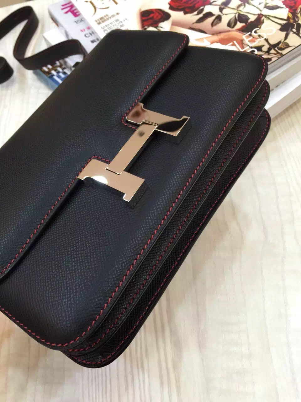 Hermes Epsom Leather Constance Bag 24CM Black & Red inner Women's Cross-body Bag