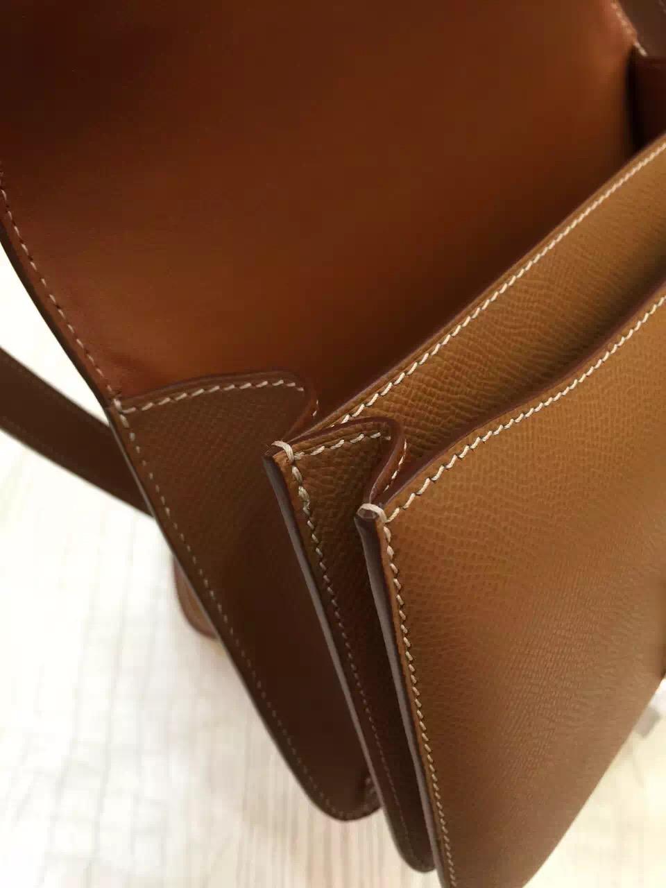 Wholesale Hermes Coffee Epsom Leather Constance Bag 24CM Shoulder Bag