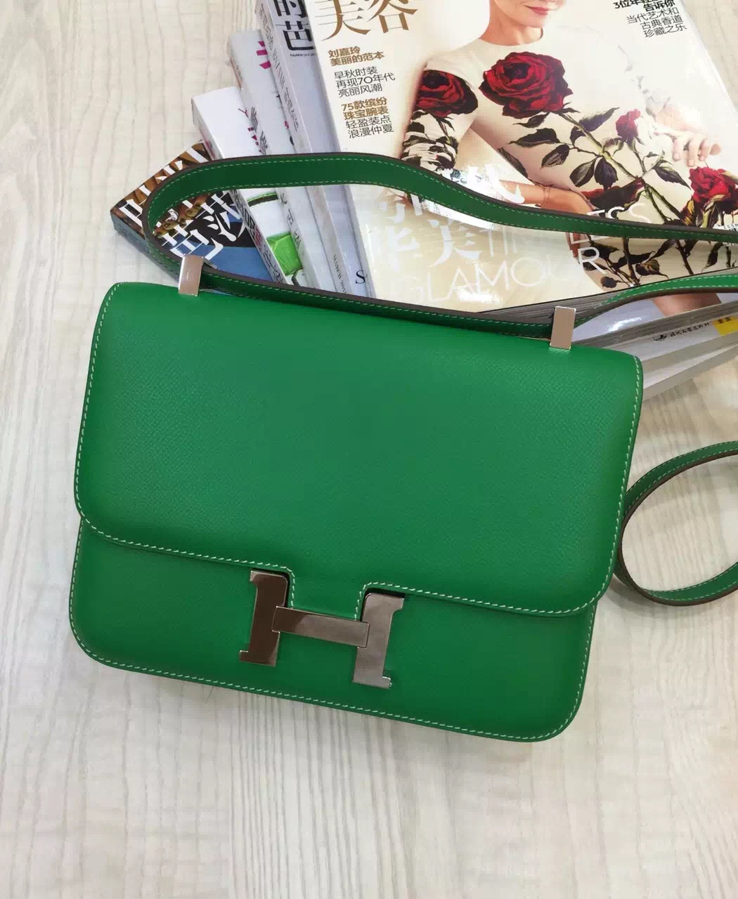 Hot Sale Hermes Constance Bag 24CM Epsom Leather Bamboo Green Fashion Women's Bag