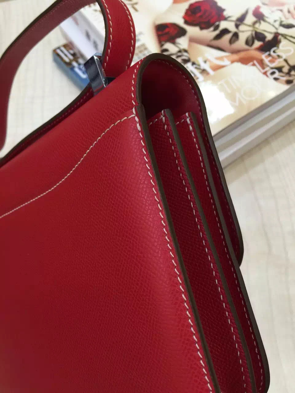 High Quality Hermes Epsom Leather Constance Bag 24CM in Red Color