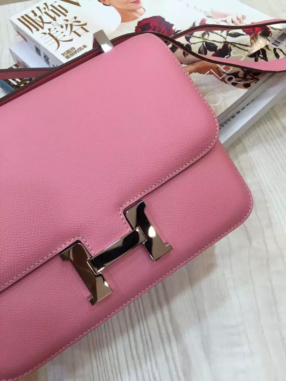 Discount Hermes Pink Epsom Leather Constance Bag 24CM Ladies' Shoulder Bag