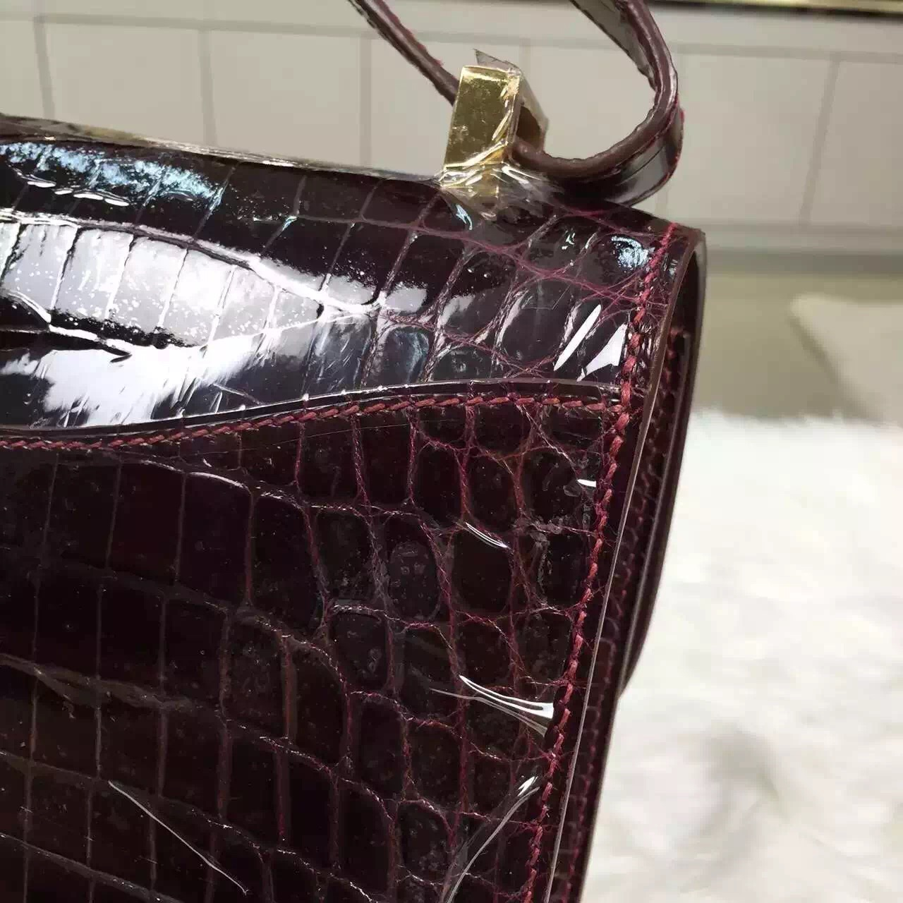 New Fashion Hermes Bordeaux Red Crocodile Skin Constance Bag24CM Women's Cross-body Bag