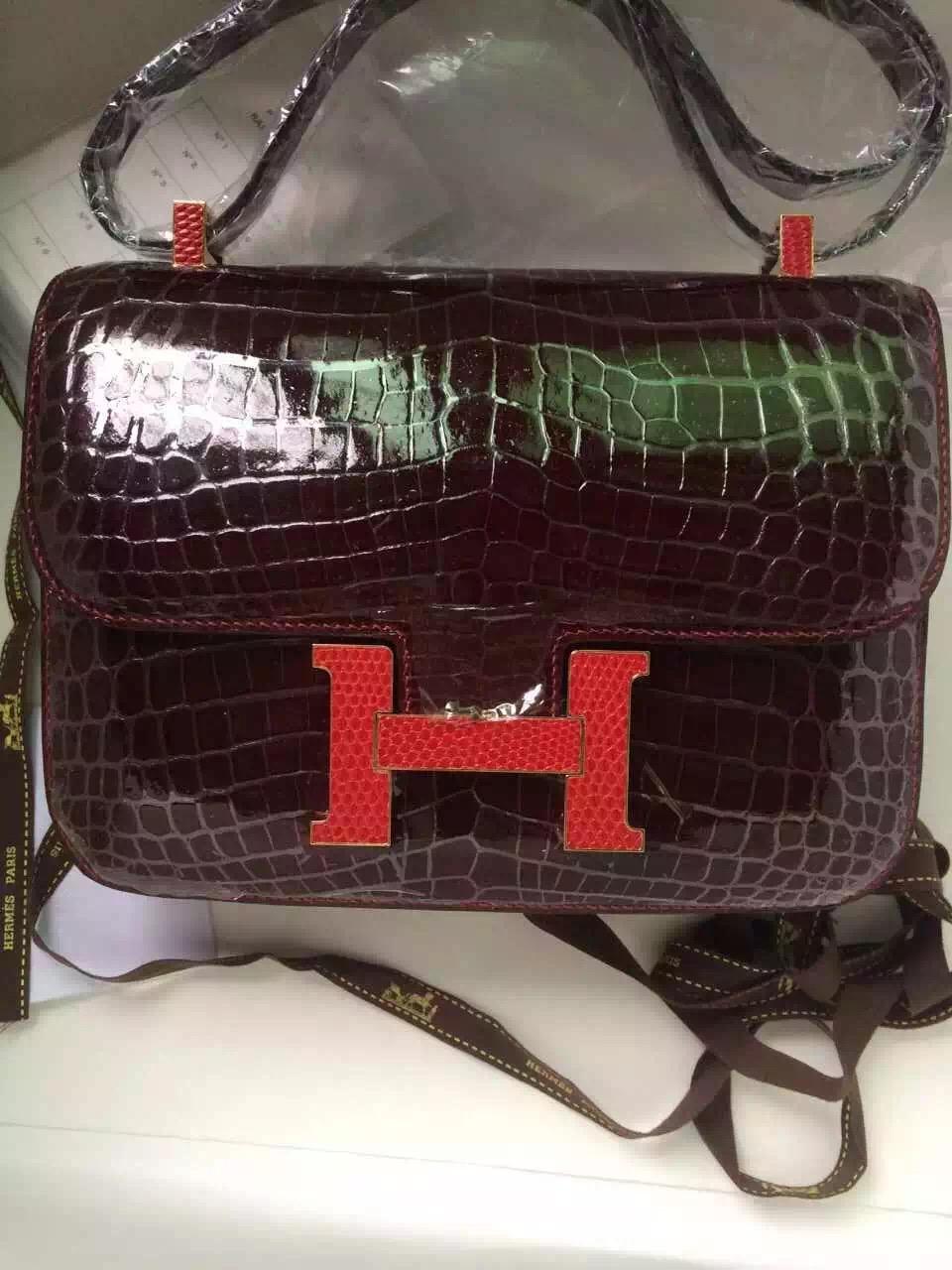 Hermes Bordeaux Red Crocodile Shiny Leather Constance Bag 19CM Lizard Buckle
