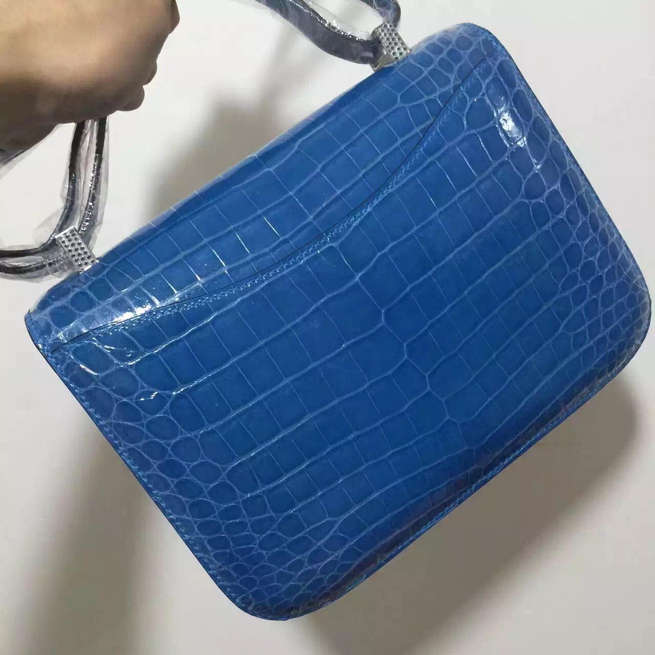 Online Store Hermes Constance Bag24CM Blue Izmir Crocodile Shiny Leather