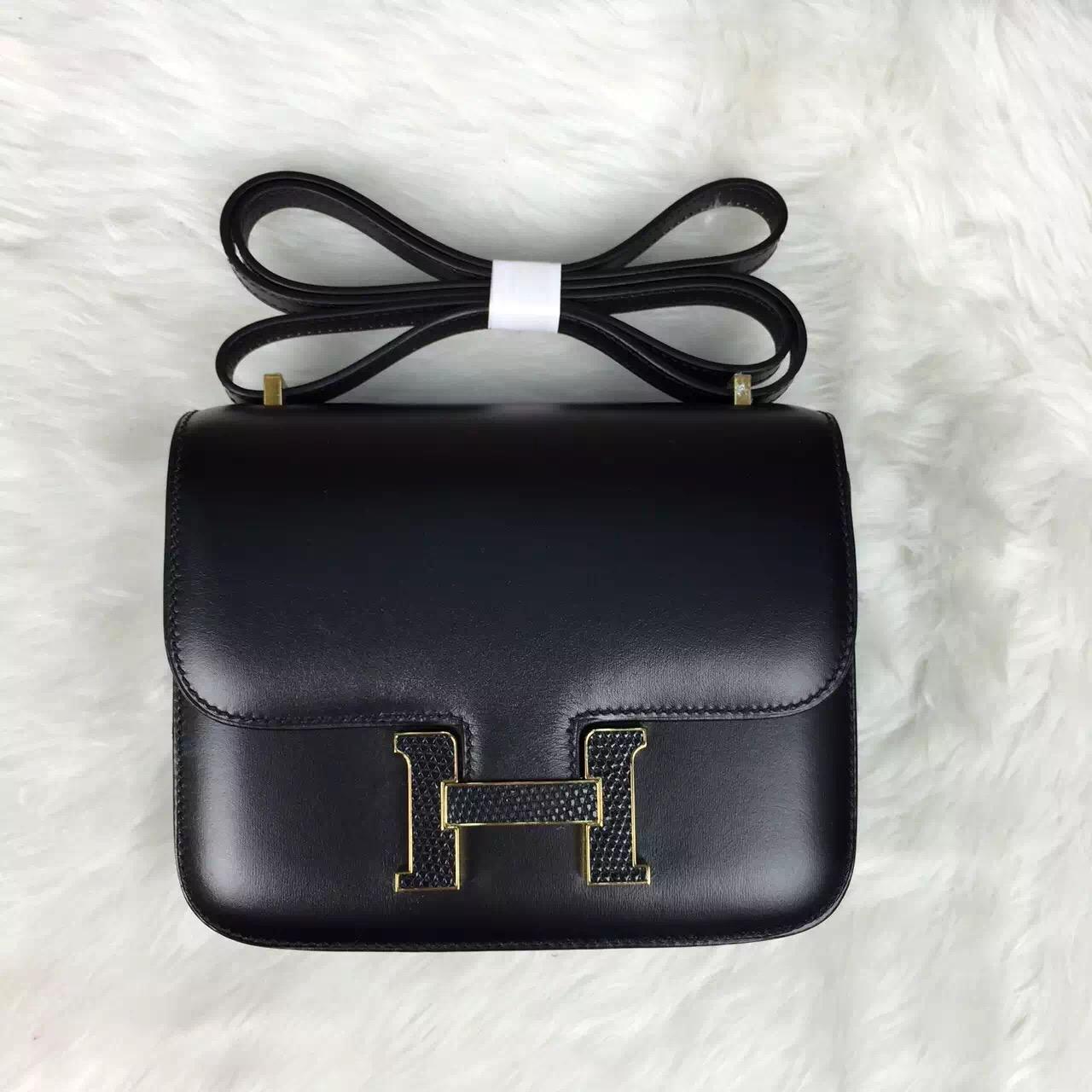 Hand Stitching Hermes Black Box Calfskin Leather Constance Bag Cross-body Bag Lizard Buckle