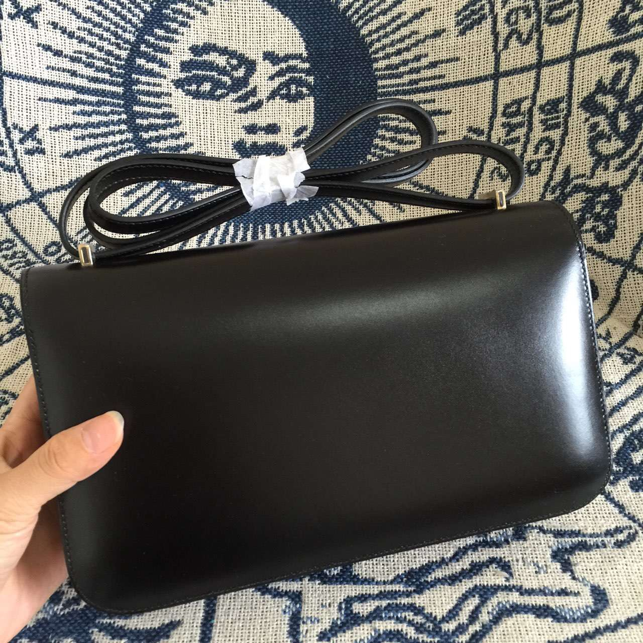 Hermes Constance Pictures 89 Black Box Calf Enamel Buckle Shoulder Bag