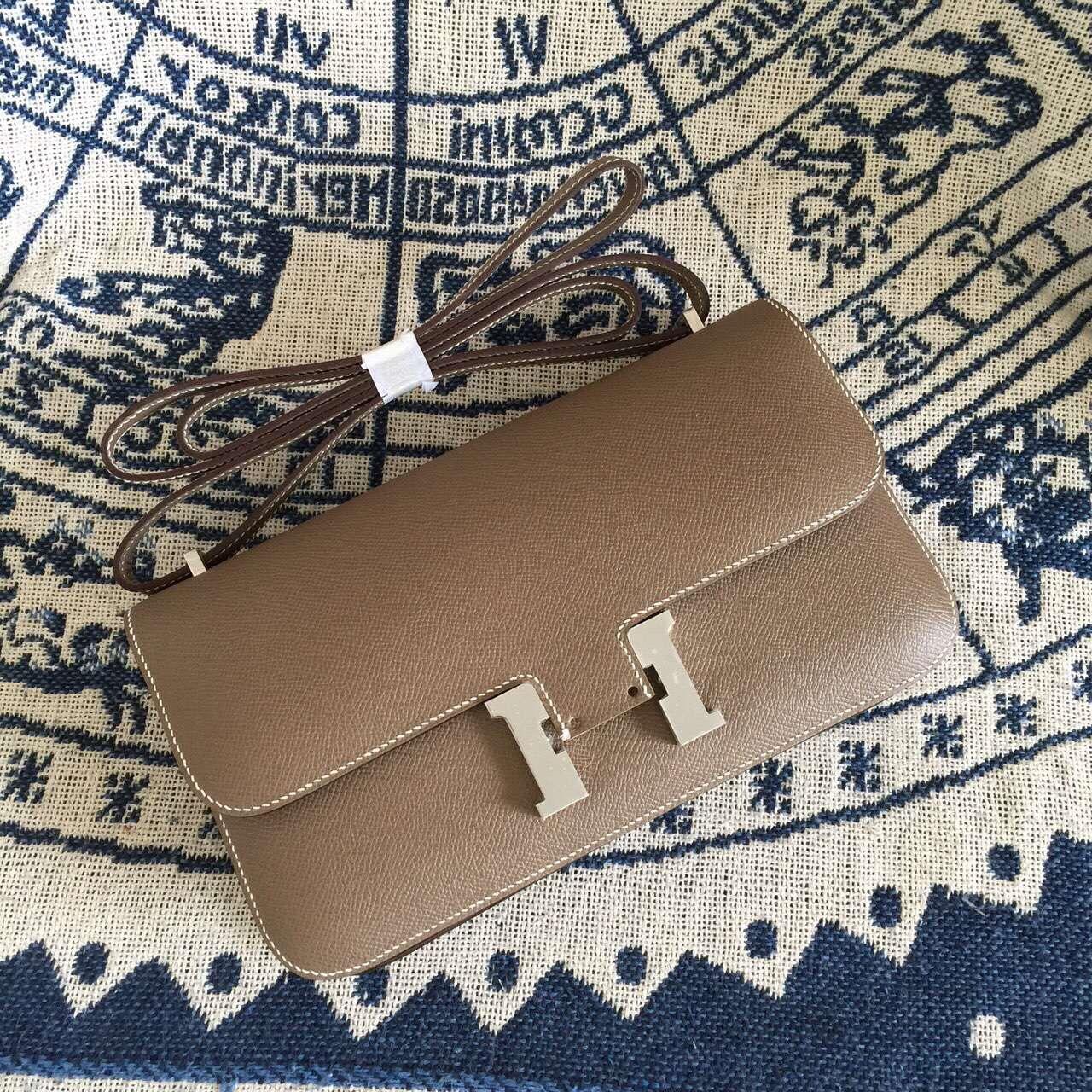 Wholesale Hermes Handbag Epsom Calfskin CK18 Etoupe Grey Constance Bag26