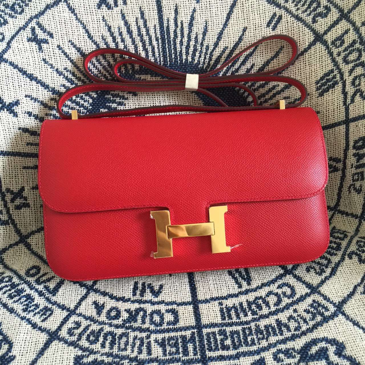 On Sale Hermes Constance Bag Epsom Calfskin Leather in Q5 Chinese Red 26CM