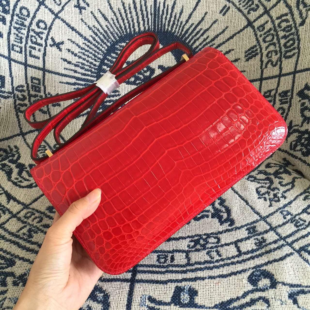 Online Store Hermes Constance26 Crocodile Leather Ferrari Red Women's Bag
