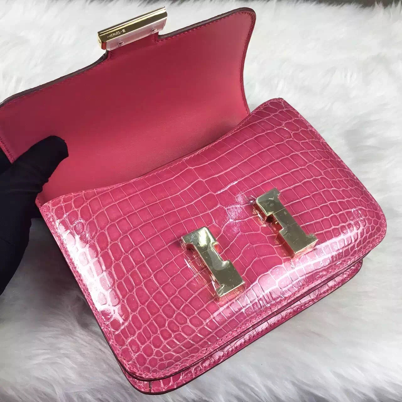 Wholesale Hermes Constance Bag 19cm 5J Hot Pink Crocodile Leather